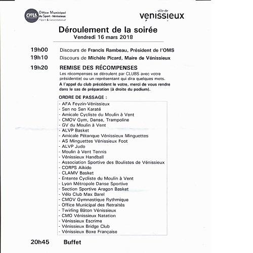 OMS - récompenses - sportifs - bénévoles - salle Joliot-Curie - Vénissieux - 2018